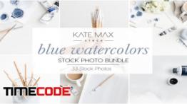 دانلود مجموعه عکس : ابزار نقاشی آبرنگ Blue Watercolors Stock Photo Bundle