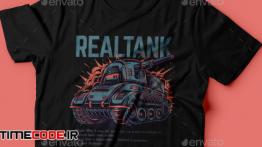 دانلود طرح لایه باز تی شرت Real Tank T-Shirt Design
