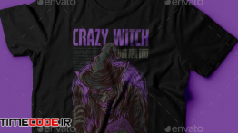 دانلود طرح لایه باز تی شرت Crazy Witch T-Shirt Design