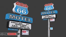 دانلود مدل آماده سه بعدی : تابلو متل Historic Route 66 Motel Sign