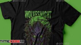 دانلود طرح لایه باز تی شرت Wolves Night T-Shirt Design
