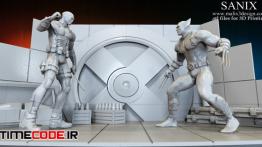 دانلود مدل آماده مردان ایکس برای پرینتر سه بعدی Xmen Diorama Deadpool Vs Wolverine 3D Print Model