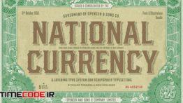 دانلود فونت انگلیسی کلاسیک S&S National Currency Font Bundle