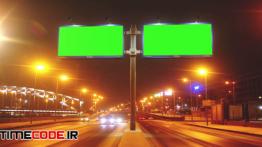دانلود استوک فوتیج : بیلبورد در خیابان A Billboard With A Green Screen On A Streets