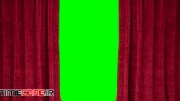 دانلود استوک فوتیج : پرده سینما کروماکی Red Stage Curtain Opening With Alpha Channel