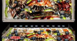 دانلود مدل آماده سه بعدی : یخچال غذای دریایی Showcase With Seafood