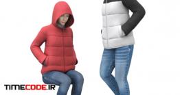 دانلود مدل آماده سه بعدی : دخترها با کاپشن Girl In A Jacket With A Hood