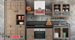 دانلود مدل آماده سه بعدی : آشپزخانه Dialma Brown Workshop Kitchen