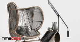 دانلود مدل آماده سه بعدی : صندلی تک نفره Greige Design Olaf Chair Set