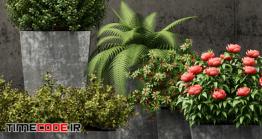 دانلود مدل آماده سه بعدی : گل و گیاه Restoration Hardware Pedestal Sheet Metal Planters