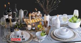 دانلود مدل آماده سه بعدی : میز نهار Table Setting