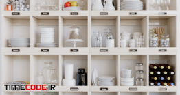 دانلود مدل آماده سه بعدی : قفسه آشپزخانه Set-114