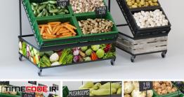 دانلود مدل آماده سه بعدی : ویترین سبزیجات Racks With Vegetables