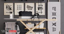 دانلود مدل سه بعدی : ست میز اتو Wooden Ironing Board Set
