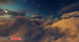 دانلود فوتیج حرکت میان ابر ها در شب Flying On Night Sky Clouds 03 HD