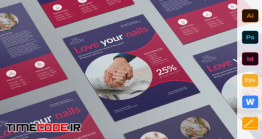 دانلود طرح لایه باز بروشور کاشت ناخن Nail Studio Flyer | Creative Illustrator Templates
