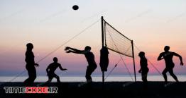 دانلود عکس استوک : ضد نور بازی والیبال در ساحل Beach Volleyball