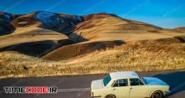 دانلود عکس استوک : پیکان Driving Through The Beautiful Alamut Mountains In Iran