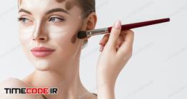 دانلود عکس استوک : میکاپ صورت زن Make Up Woman Face Cosmetic Applying