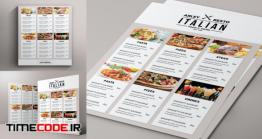 دانلود فایل لایه باز منو رستوران غذا ایتالیایی Simple Black & White Menu