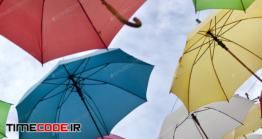 دانلود عکس استوک : چتر رنگی Umbrellas In The Sky