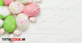 دانلود عکس تخم مرغ رنگی  Easter Greeting Card With Eggs