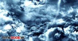 فوتیج انتزاعی پرواز میان آسمان تیره با رعد و برق Flying Through Abstract Dark Night Thunder Clouds