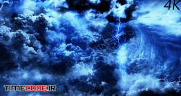 فوتیج فانتزی آسمان تیره با رعد و برق Flying Through Mysterious Dark Night Thunder Clouds
