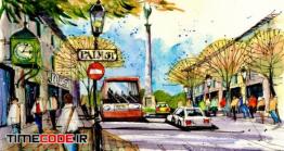 دانلود آموزش اسکیس نمای شهری با ماشین و درخت  Sketching Cars, Trees And Furnishings