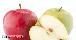 دانلود عکس سیب قرمز و سفید Red And Green Apple