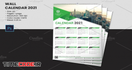 طرح لایه باز تقویم دیواری Wall Calendar 2021 Photoshop Templates