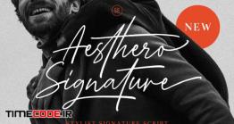 دانلود فونت انگلیسی گرافیکی به سبک امضا Aesthero – Stylish Signature Script