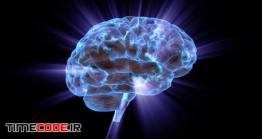 فوتیج موشن گرافیک مغز انسان Rotating Human Brain Electrically Charged With Thought