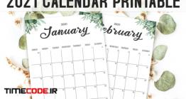 دانلود فایل لایه باز تقویم دیواری Calendar 2021 Printable Template