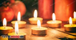 دانلود عکس انار با شمع Candles And Dry Pomegranates