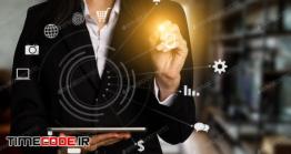 دانلود عکس دیجیتال مارکتینگ  Digital Marketing In Virtual Icon Globe Shape Business