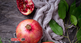 دانلود عکس انار Ripe Dissected Pomegranates