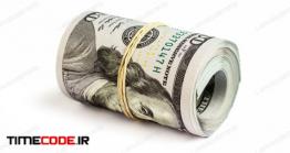 دانلود عکس یه بسته دلار  Roll Of Hundred Dollar Bills Isolated