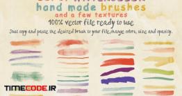 دانلود براش آبرنگی ایلستریتور + تکسچر  Set Of Watercolor Brushes And Textures