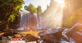 دانلود عکس آبشار  Tropical Waterfall In The Morning