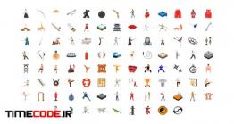 دانلود پروژه آماده افترافکت : 100 آیکون انیمیشن رزمی Martial Arts Icons