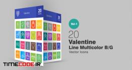 دانلود 20 آیکون ولنتاین  Valentine Line Multicolor Icons