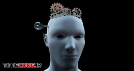 دانلود فوتیج مفهومی مغز انسان به همراه چرخ دنده و کلید Brain Gears