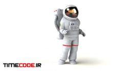 دانلود کاراکتر موشن گرافیک : فضانورد Fun 3D Cartoon Astronaut Walking And Presenting