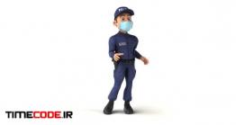 دانلود کاراکتر موشن گرافیک : پلیس با ماسک Cartoon Policeman Talking With A Mask