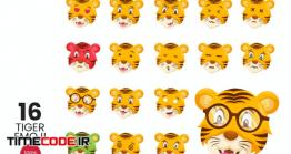 دانلود 16 ایموجی ببر کارتونی Cute Tiger Avatar Emoji Vector