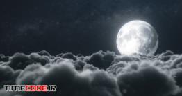 دانلود عکس ماه از بالای ابر ها در شب  Beautiful Realistic Clouds With Full Moon