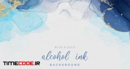دانلود رایگان بک گراند جوهری Blue & Gold Alcohol Ink Background