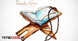 دانلود رایگان وکتور قرآن و تسبیح Elegant Ramadan Kareem Card With Quran Background