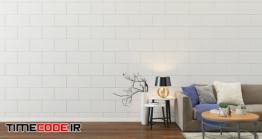 دانلود عکس اتاق نشیمن با دیوار سفید  Living Room Interior Background